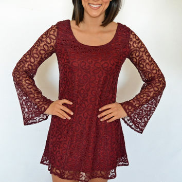Bell Sleeve All Over Lace Dress in Burgundy