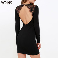 New Women Sexy Backless Lace Patchwork Mini Dress Casual Long Sleeves Bodycon Dress Elegant Lady Party Dress