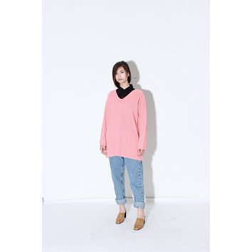 Salmon Knit Sweater / Pastel V Neck Slouchy Jumper / Oversized