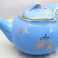 "Hall Periwinkle Teapot 9 1/2"", Beautiful Gold Trim with Floral, Hook Cover Teapot and Lid, Made In USA Teapot. ca. 1930-1970"