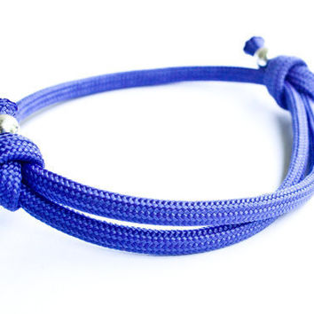 Royal Purple Blue Paracord Bracelet Adjustable Sliding Knot Sliver Beads