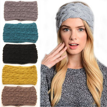 Extra Wide 9 Colors Knitted Turban Headbands For Women Winter Warm Crochet Headband Head Wrap Wide Ear Warmer Hairband Hair Accessories