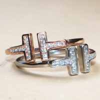 Tiffany & Co Double T-Open Ring T-letter Ring Gold-plated Ring 18K Rose F0320