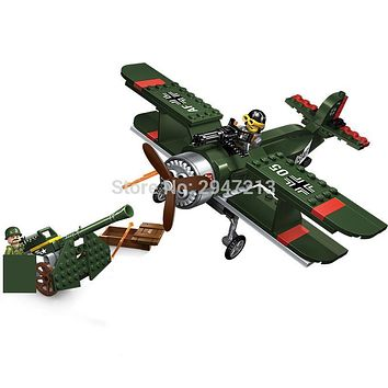 hot compatible LegoINGlys Military World War II Bomber with Howitzer Building blocks Land force figures weapons brick toys gift
