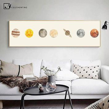 Solar System Outer Space Universe Planet Earth Moon Poster and Print Canvas Art Painting Wall Picture for Living Room Decoration