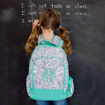 Monogrammed Backpack-- Book bag Monogrammed -- Lunch Box monogram-- Personalized bag-- Monogrammed Bookbag and Lunch Box-- Paisley -- Aqua