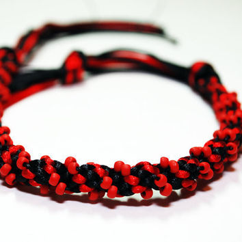 Red and Black Beaded Kumihimo Bracelet by epicstitching on Etsy