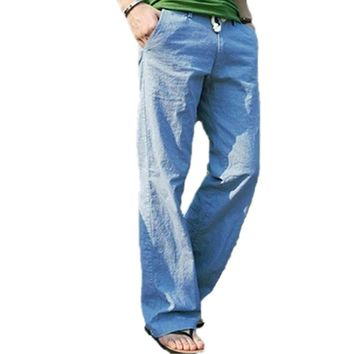 Men's Fashion Casual Loose Drawstring Waist Solid Linen Trousers Beach Pants