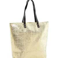 Golden! Woven Straw Tote