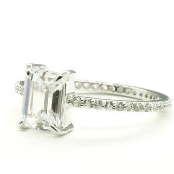 Emerald Cut Clear Cubic Zirconia and Micro Pave Engagement Style Silvertone Fashion Ring