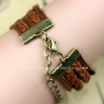 Snitch bracelet, harry potter and the owl bracelet, wax rope, brown leather jewelry as girlfriend and boyfriend