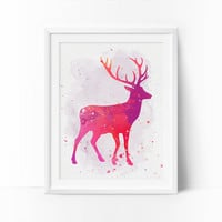 Deer Art, Watercolor Deer, Nursery Deer, Printable Art, Rose, Coral Prints, Girls Room Decor, Baby Girl Nursery, Kids Wall Decor