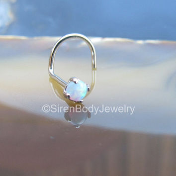 Gold nose ring piercing stud 20g body jewelry 14k white opal prong set 2.5 nostril screw studs piercings opals petite solid gold piece one