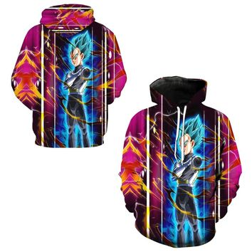 Vegeta Super Saiyan Blue Print Men Training Sweatshirts Skateboarding Hoodies Dragon Ball Z Hooded Tops Quick Dry Hoody Pullover