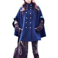 Amazon.com: Allegra K Embossed Double Breasted Royal Blue Poncho Coat for Lady M: Clothing