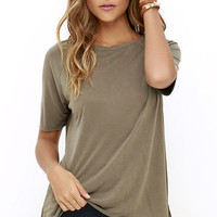 Right to Party Olive Green High-Low Tee