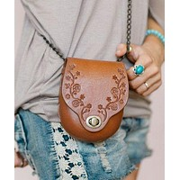 """Tooled Leather Crossbody Purse """"Daisy Chain"""" Brown Handcrafted Genuine Cowhide Saddle Bag Style With Bronze Chain By Karen Kell"""