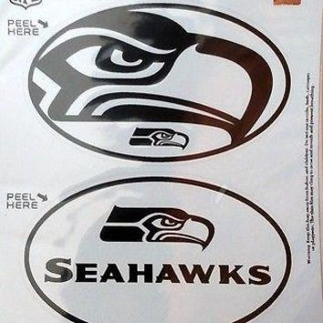 Seattle Seahawks 2-Pack EURO STYLE Vinyl Oval Home Auto Decals Sticker Football