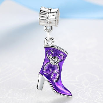 Free shipping Silver Plated Bead Charm High-heeled boots Pendant Beads Fit Women pandora bracelets & bangles DIY Jewelry YW15506