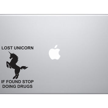 "Lost Unicorn, Stop Doing Drugs Funny Vinyl Decal Sticker Skin MacBook Pro Air 13"" 15"" 17"" Laptop Africa Sahara Joke Car Truck Bumper Sticker"