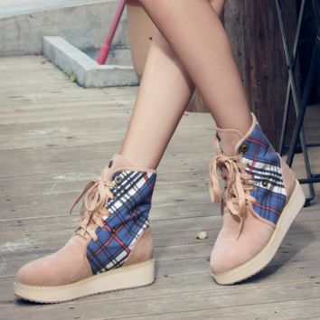 Womens Lace Up Winter Warm Boots