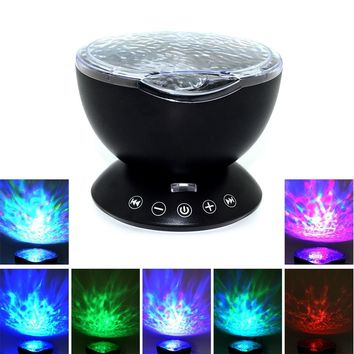 LED Night Wave Light Starry Sky Projector With Music Remote Control
