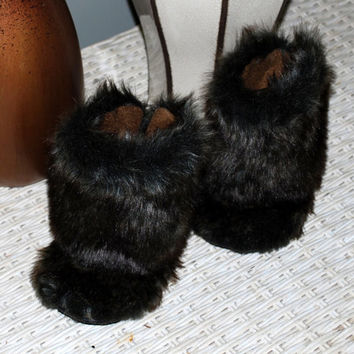 Toddler Boots, Baby Boots. Faux Mink Tall Boots for Baby