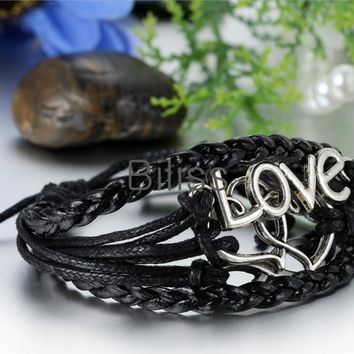 SHIPS FROM USA 2017 Charm Bangle Vintage Multilayer Infinity Heart Love Leather Braided Cuff Bracelet Women Bracelets & bangles