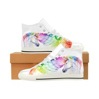 Rainbow Unicorn Women's Leather High Tops