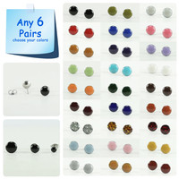 Any 6 Pairs - Stud Earrings Set - Choose Your Colors - Bright Stud Earrings Set - Earrings Set - Bridesmaids Earrings 4mm / 6mm / 8mm