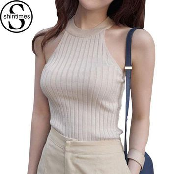 DCCKXN2 Crop Top Women 2018 Summer Tops Off Shoulder Tank Top Femme Knitted Cotton Halter Cropped Debardeur Blouses Vest  Woman Clothes