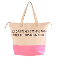 """Bitches"" Tote Bag by Iron Fist (Nude)"