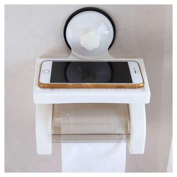 Dust/Waterproof Toilet Paper Holder Wall Mounted Bathroom Paper Holder Roll Tissue Box with shelf Plastic