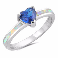 Sterling Silver CZ Lab White Opal Simulated Blue Sapphire Heart Center Ring