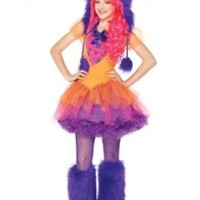 Leg Avenue 2 Piece Furrrocious Frankie Dress And Furry Monster Hood With Pom Pom Ties