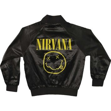 Nirvana Women's  Jr Smiley Satin Jacket Jacket Black