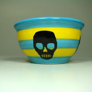 small bowl voodoo skull striped turquoise/lemon  by CircaCeramics