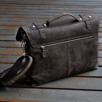Men's Handmade Leather Briefcase 15-inch Laptop Bag Leather Messenger Bag for 15-inch Laptop Shoulder Bag Boyfriend Gift Birthday Gift