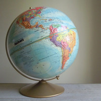 1970s World Globe | Replogle Raised Relief Globe Metal Stand | Maclean's Magazine 12 Inch Globe Cartographer LeRoy Tolman | Library Decor