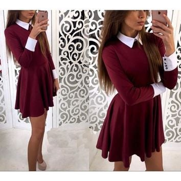 Streetstyle  Casual Burgundy Plain Pleated Peter Pan Collar Cute Teens Homcoming Skater Mini Dress