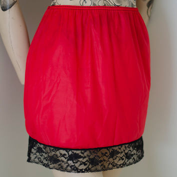 1970's Red Vintage Retro Half Slip with Black Lace Trim