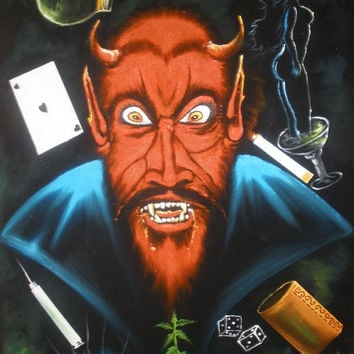 Evil devil evil vice black velvet oil painting hand painted signed art