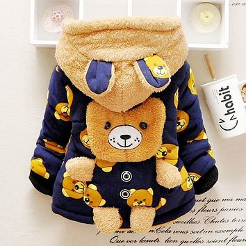 Winter Brand Baby Boys&Girls Clothes Children's Clothing Kids Thick Wadded Jacket Cartoon Bear Cotton-padded Warm Outwear