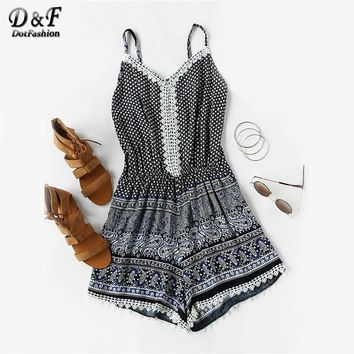 Dotfashion 2017 Wommer's Summer Navy Playsuit Aztec Printed Random Lace Trim Cami Romper Strap Sleeveless Boho Playsuit