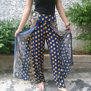 Dark Blue Palazzo Pants Elephant Print Elegant Boho Gypsy Tribal Aladdin Clothing Beach Casual Tank Trousers Dress Wild Legs Hobo From Thai