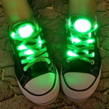 LED Nylon Shoelaces Light Up Shoe Laces Disco Flash Lighting the Night for Party Hip-h