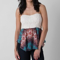 Women's Lace Tube Top in Cream/Turquoise by Daytrip.