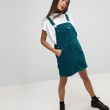 ASOS Cord Overall Dress in Emerald Green at asos.com