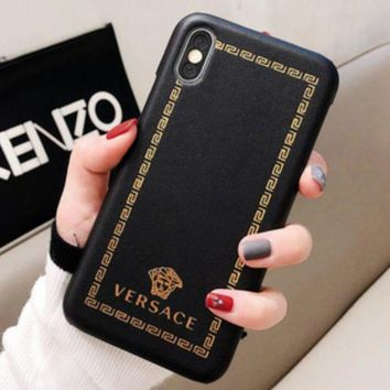 Versace Leather Women Men Protective Cover Phone Case
