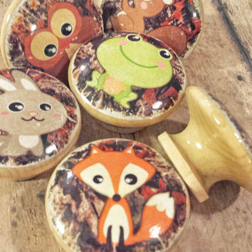 You Choose Your Animal Knob, Woodland Animals Drawer Pulls, Distressed Style, Cabinet Knob, Dresser Knobs, Nursery Knobs, Made To Order